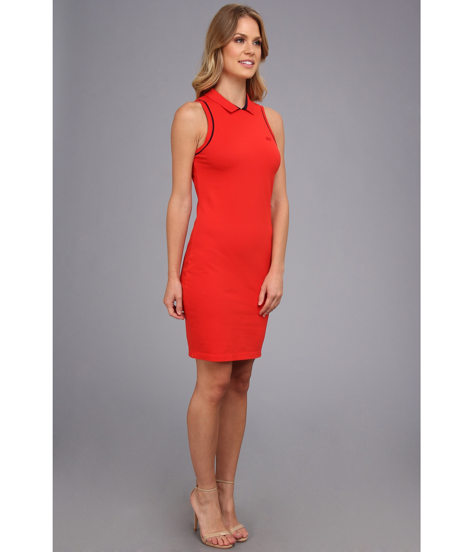 Lyst Lacoste Sleeveless Pique Polo Dress In Red