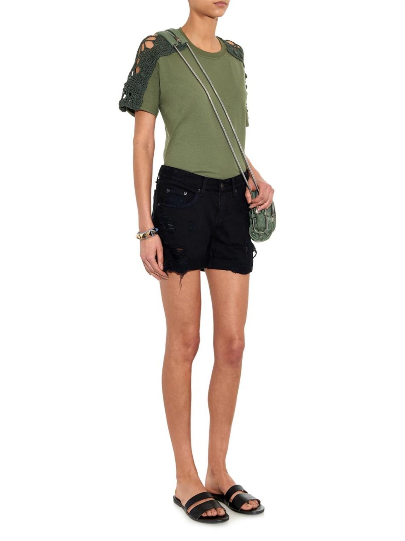 Rag & bone The Boyfriend Distressed Denim Shorts in Black | Lyst