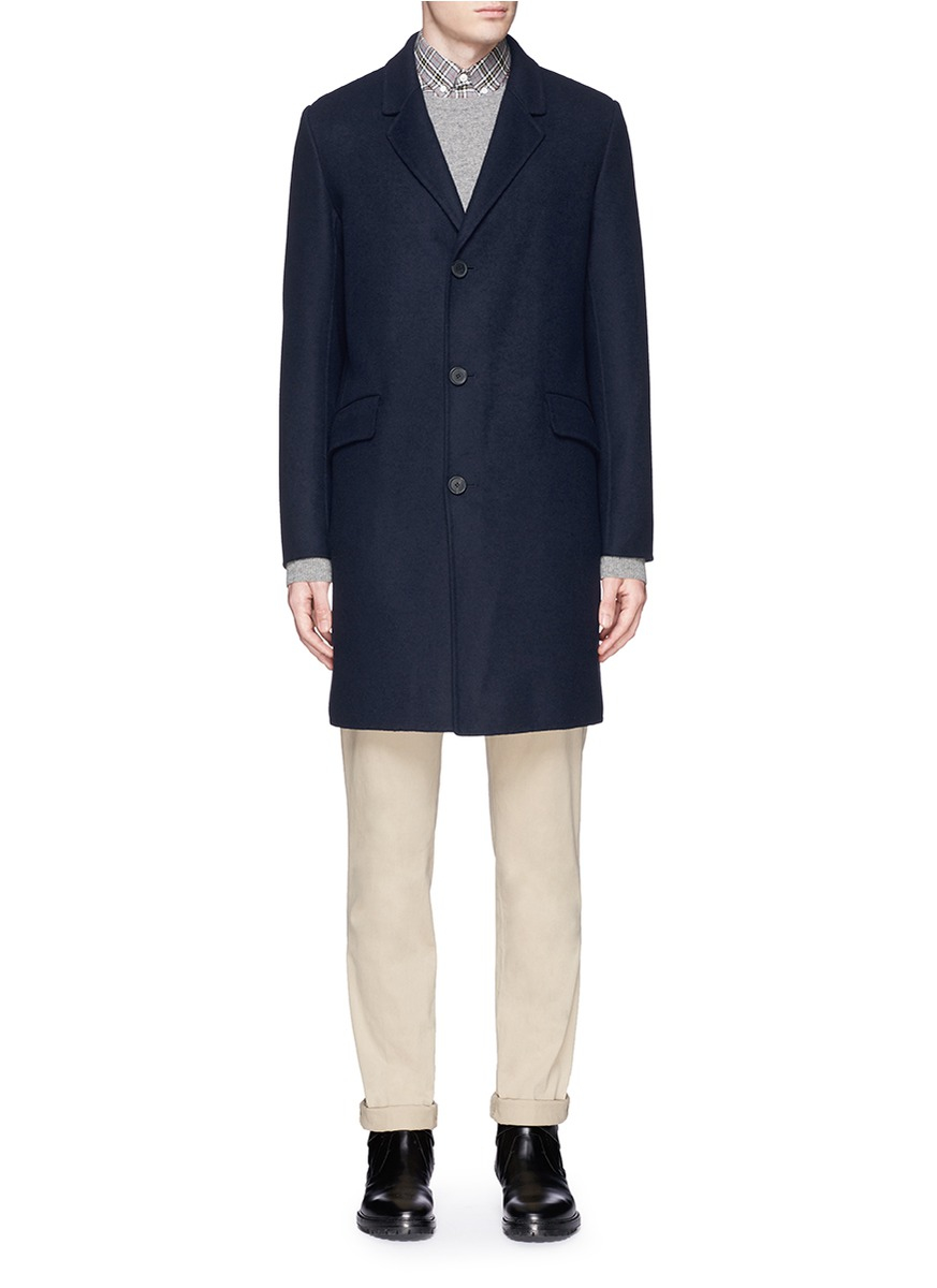 Theory 'whyte Dw' Cashmere Coat in Blue for Men | Lyst