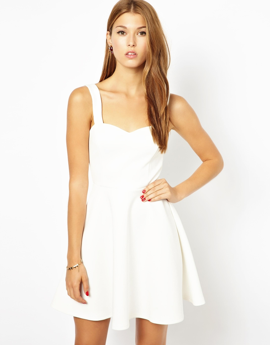 Ax paris Sweetheart Neckline Skater Dress in White | Lyst