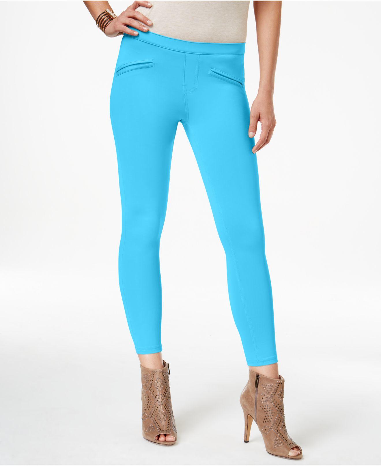 bbe8f1450ce153 Lyst - Hue Satin Jersey Skimmer Leggings in Blue
