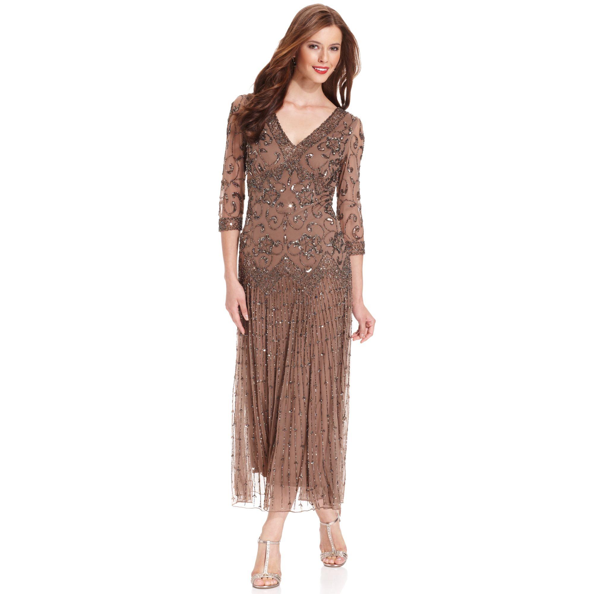 Lyst - Pisarro Nights Threequarter Sleeve Beaded Gown in Brown