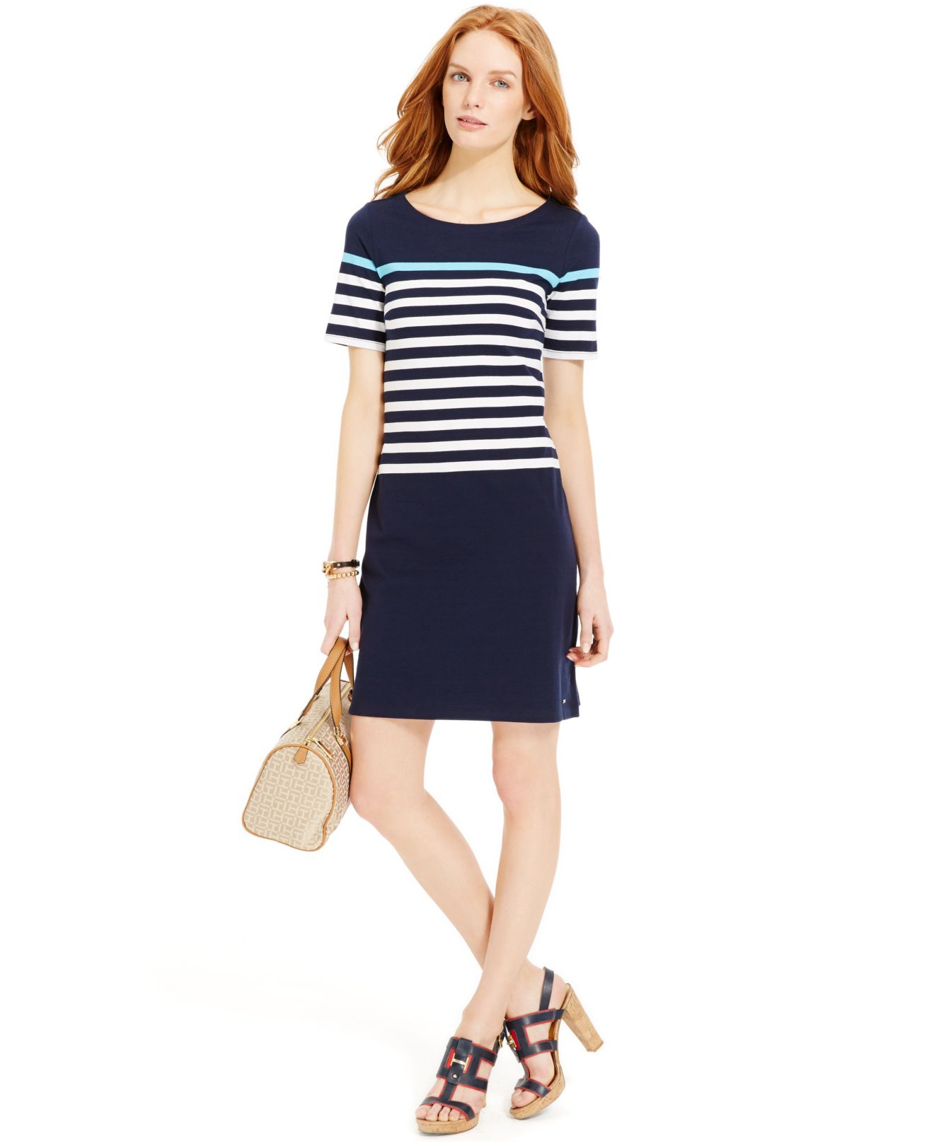 Lyst Tommy Hilfiger Colorblock Striped T Shirt Dress In Blue