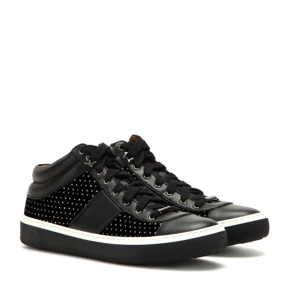 jimmy choo bells embellished velvet and leather sneakers in black lyst. Black Bedroom Furniture Sets. Home Design Ideas