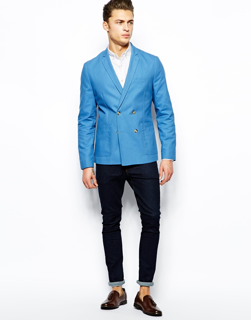Lyst - Asos Slim Fit Double Breasted Blazer in Washed Cotton in Blue ...