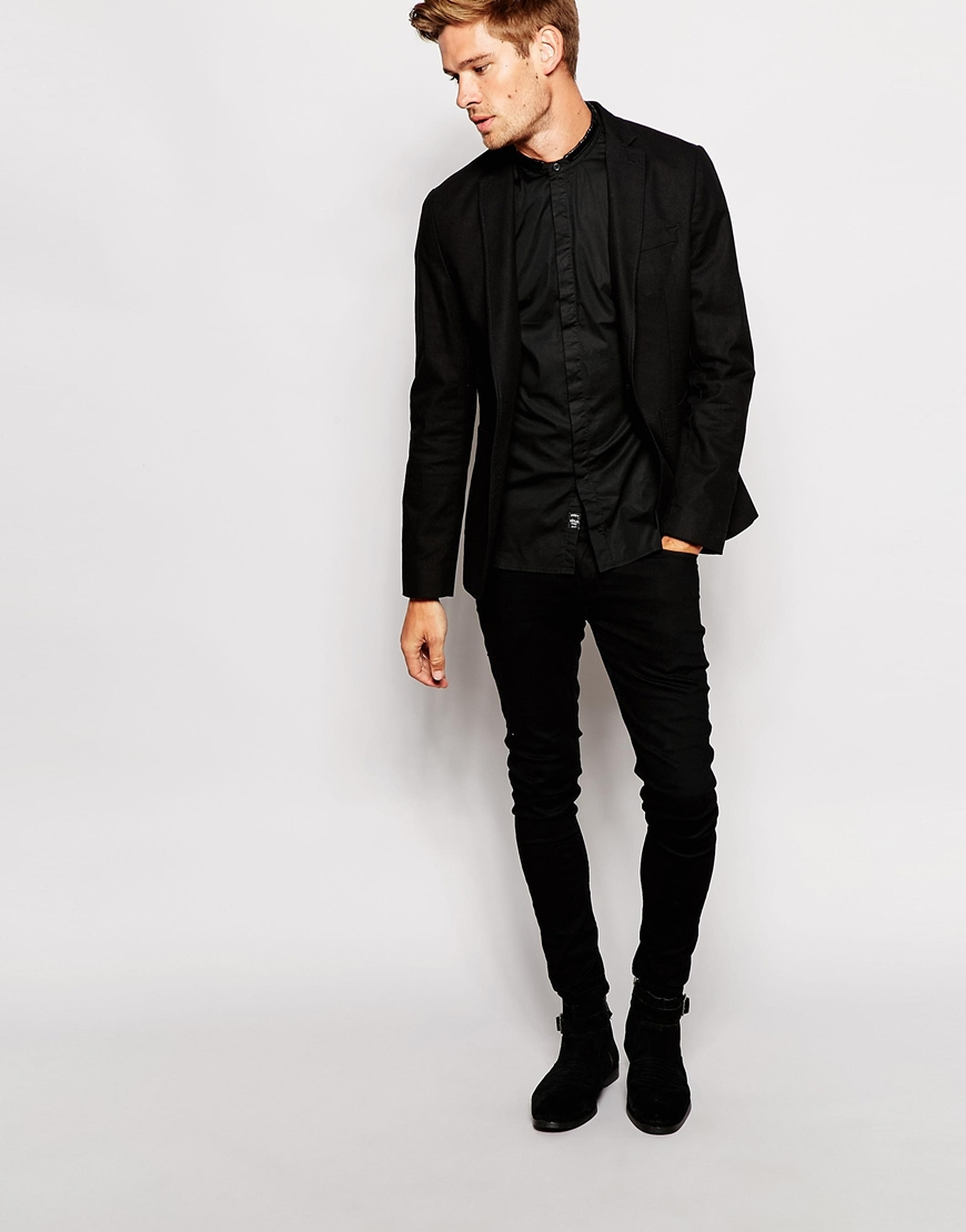 Replay Shirt Collarless Slim Fit Stretch Poplin in Black for Men ...