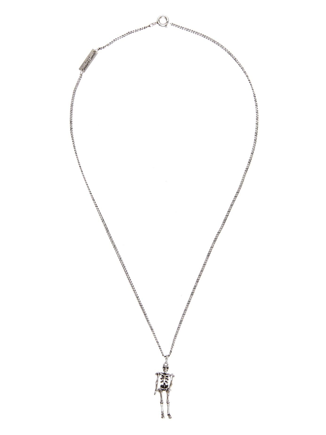 539da424271 Saint Laurent Punk Skeleton Necklace in Metallic - Lyst
