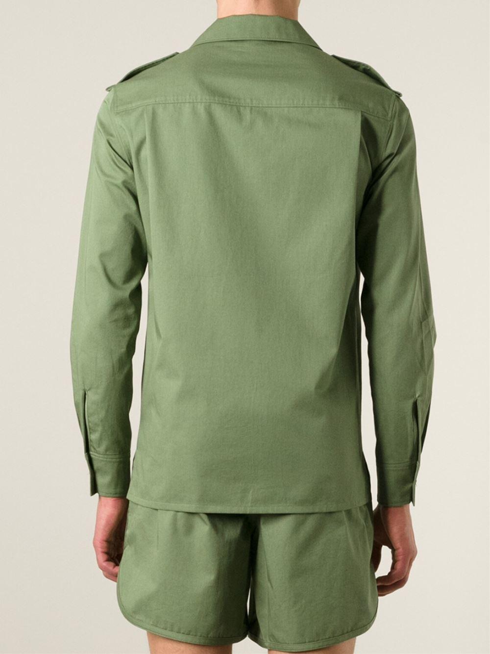 Safari Shirt Cognac Heels: Maison Kitsuné Safari Shirt In Green For Men