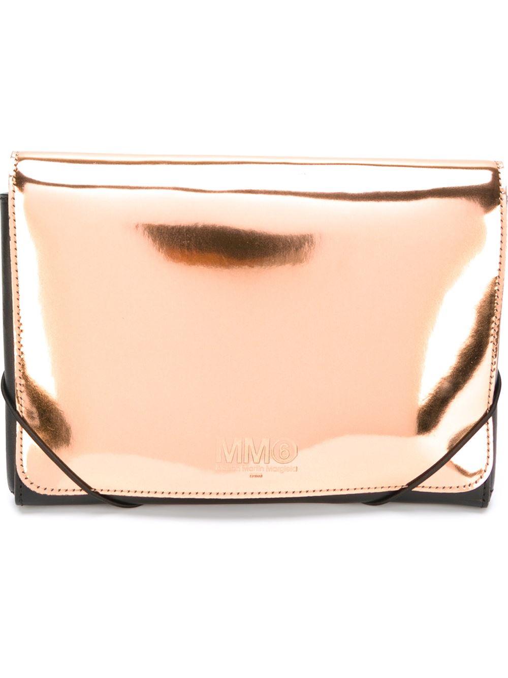 Mm6 by maison martin margiela high shine clutch in gold for Mm6 maison martin margiela
