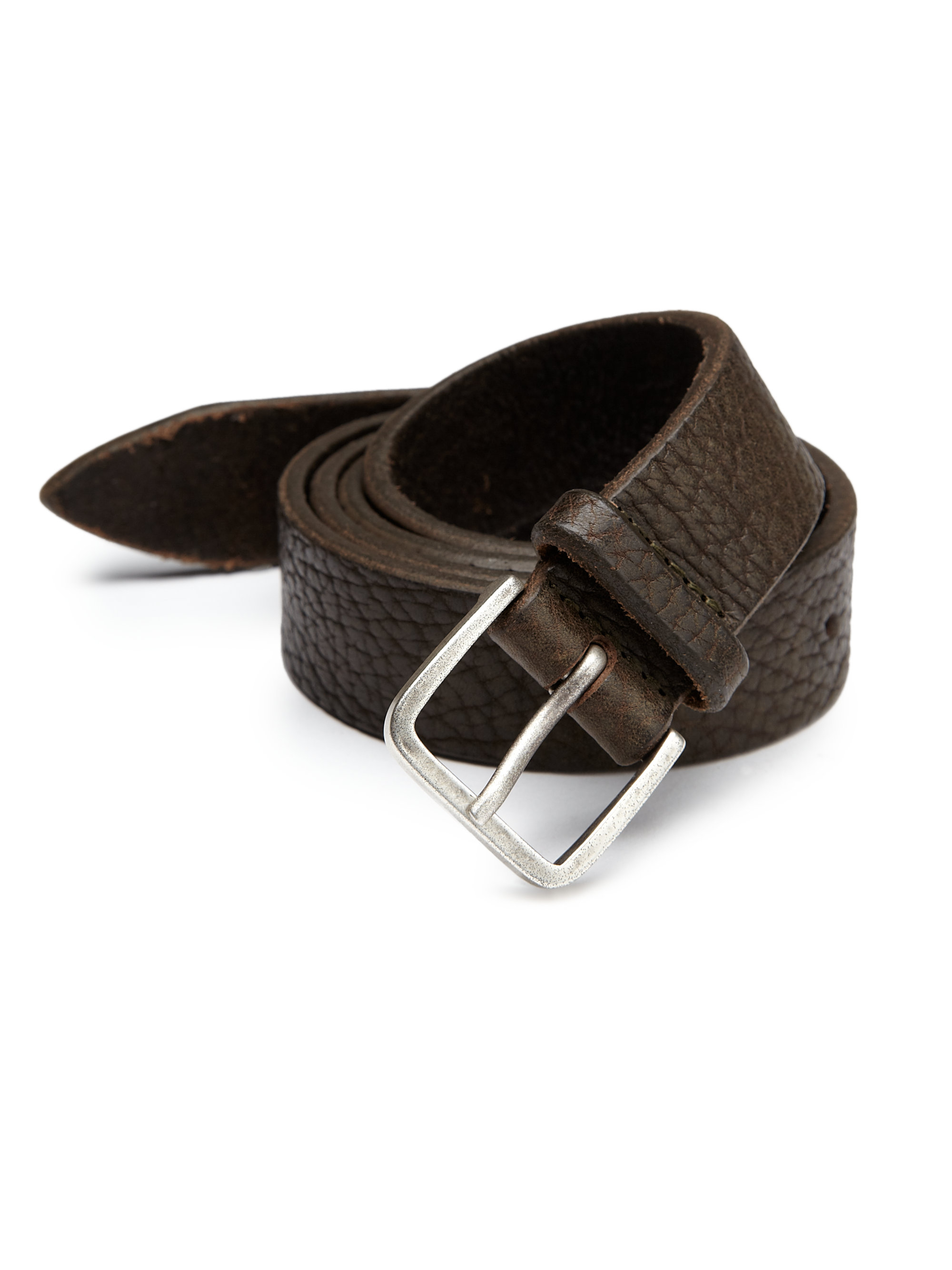 orciani grained leather belt in brown for lyst