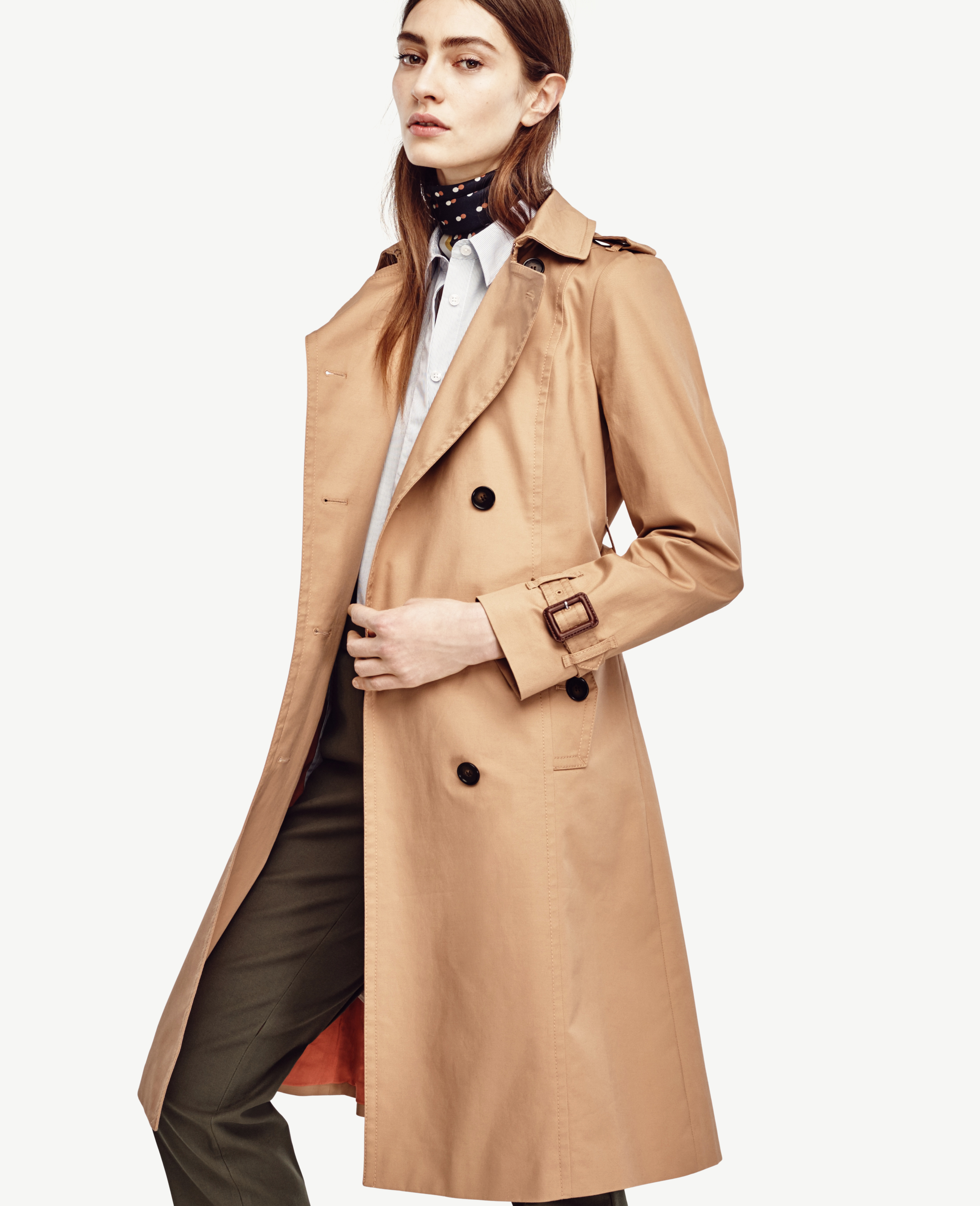 Ann taylor Petite Classic Long Trench in Brown | Lyst