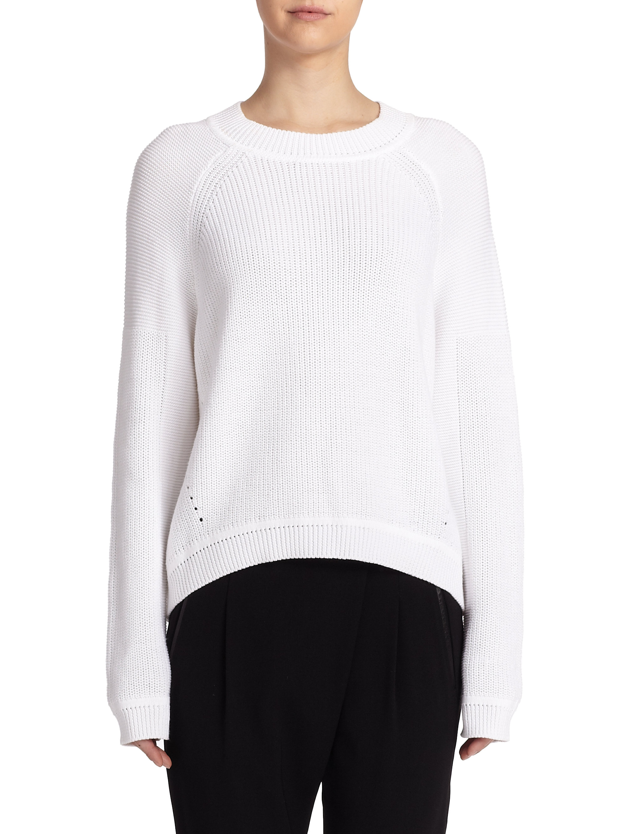 Vince Mixed-Ribbing Cotton Sweater in White | Lyst