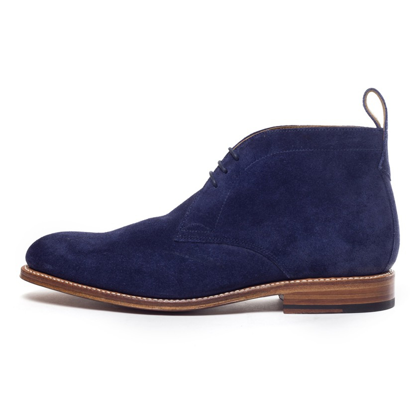 foot the coacher blue suede chukka boots in blue