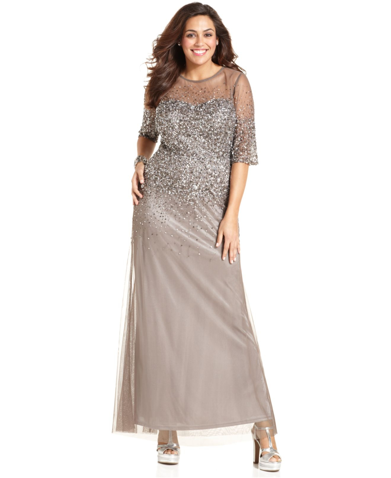 Adrianna papell Plus Size Elbow-Sleeve Beaded Gown in Gray | Lyst