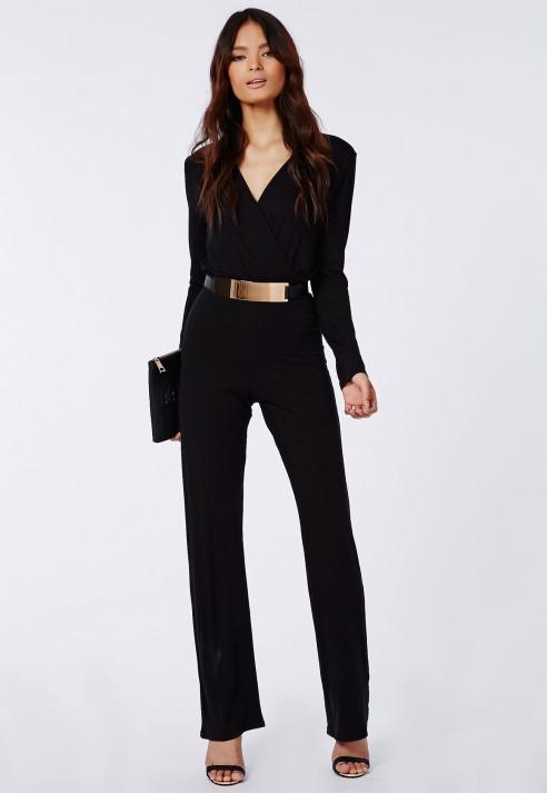 610d0c1ff1 Lyst - Missguided Deliana Long Sleeved Wrap Wide Leg Jumpsuit Black ...