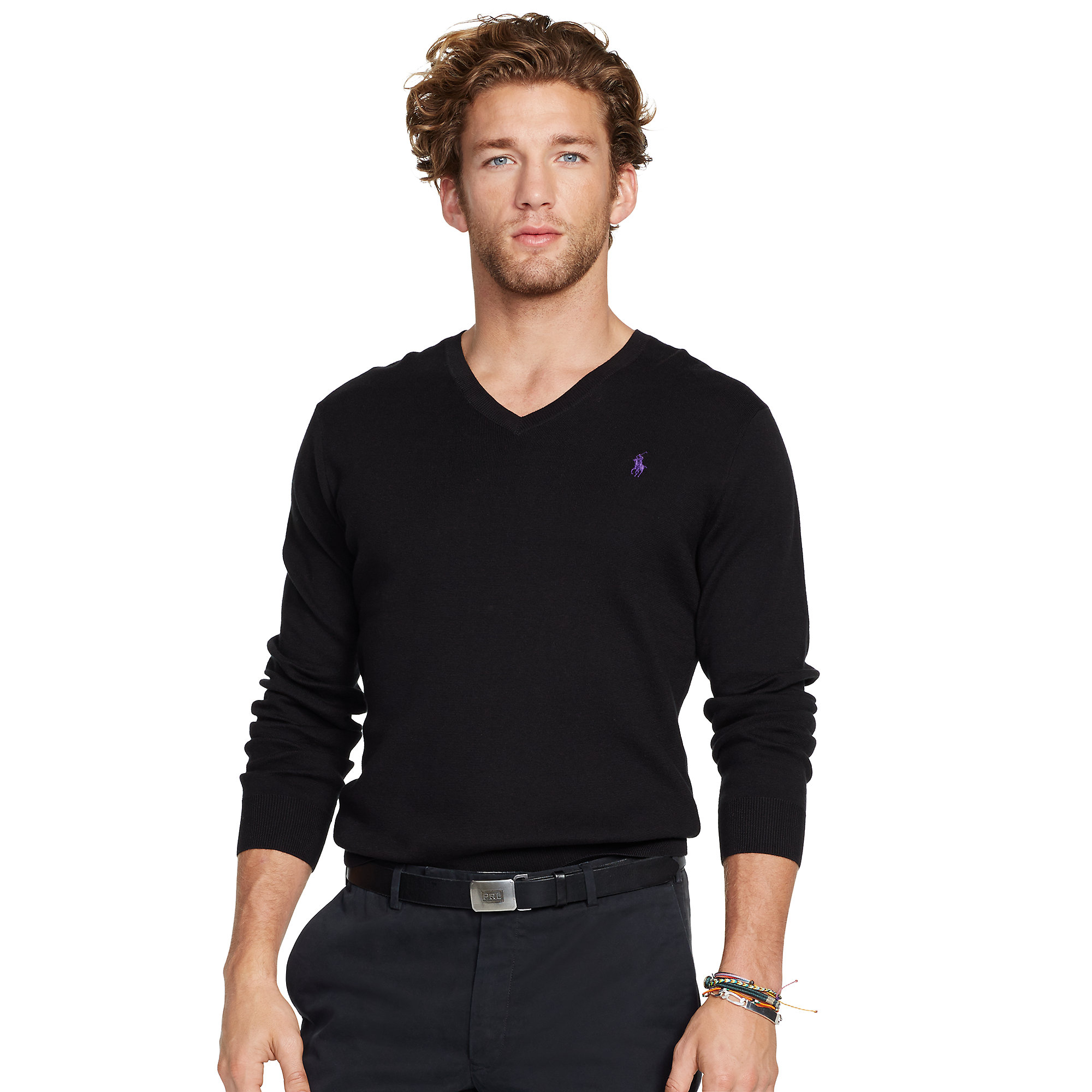 Polo ralph lauren Slim-fit V-neck Sweater in Black for Men | Lyst