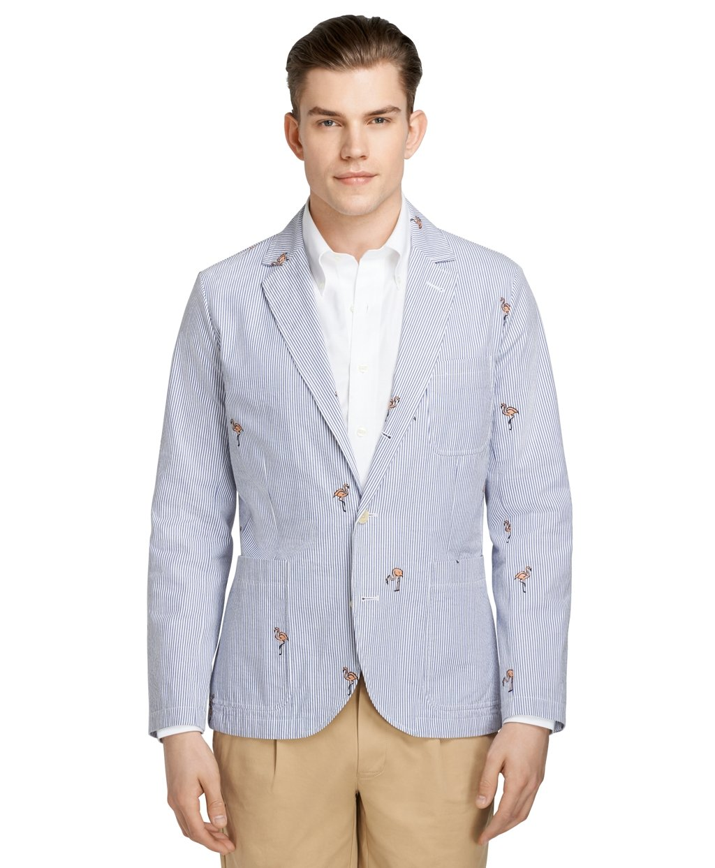 lyst brooks brothers seersucker flamingo jacket in blue for men. Black Bedroom Furniture Sets. Home Design Ideas