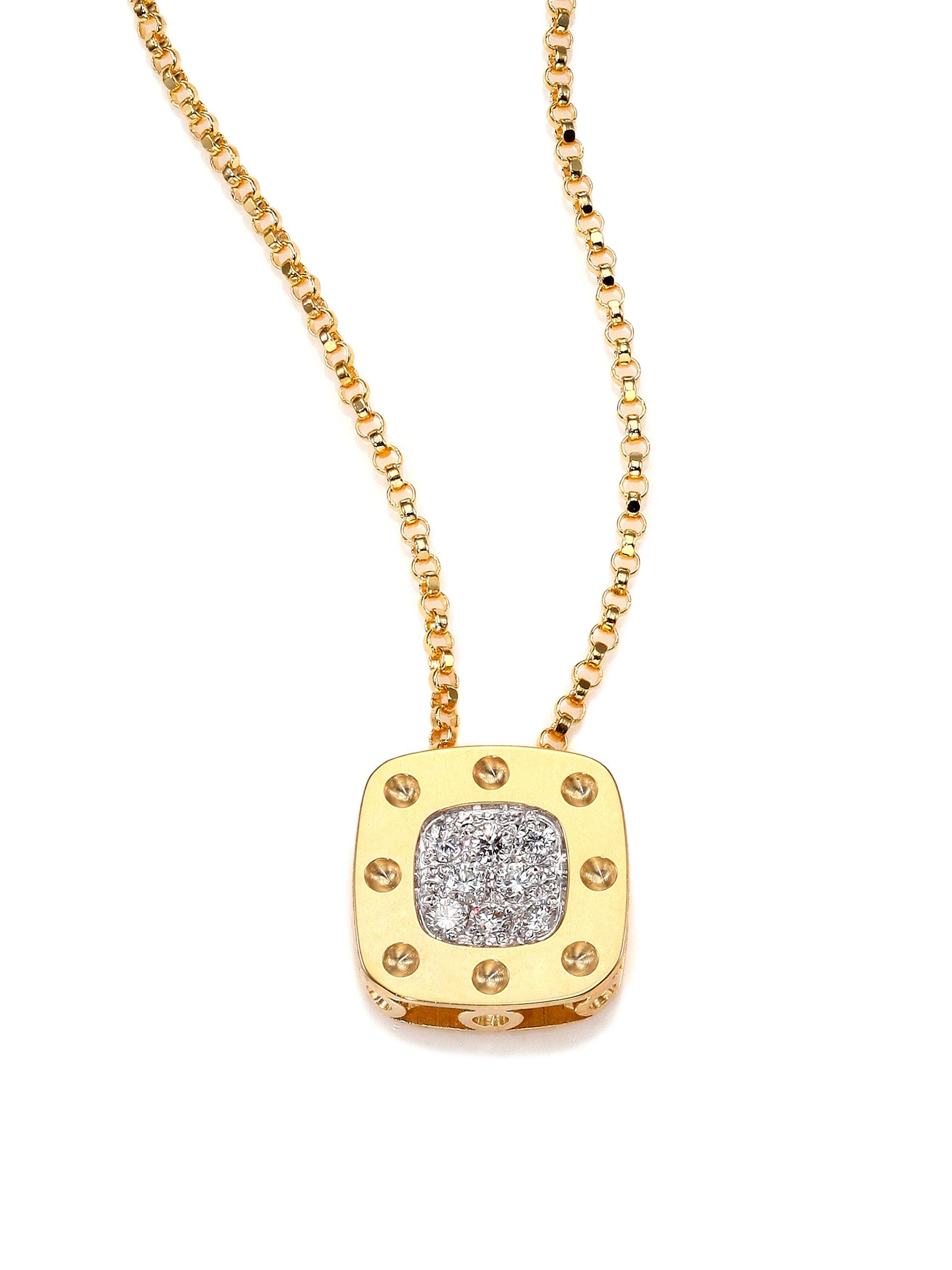 roberto coin pois moi diamond 18k yellow gold small. Black Bedroom Furniture Sets. Home Design Ideas