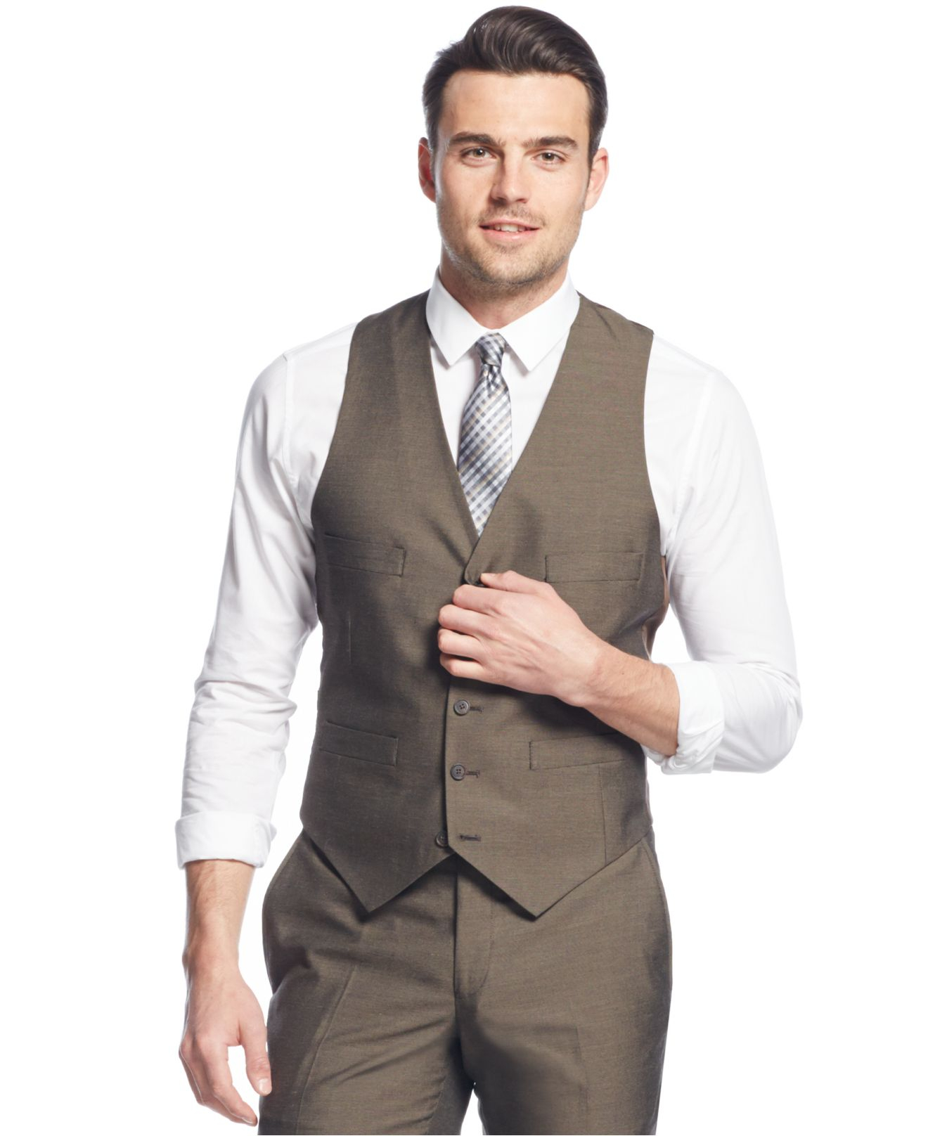 Kenneth cole reaction Brown Sharkskin Slim-fit Vested Suit in ...