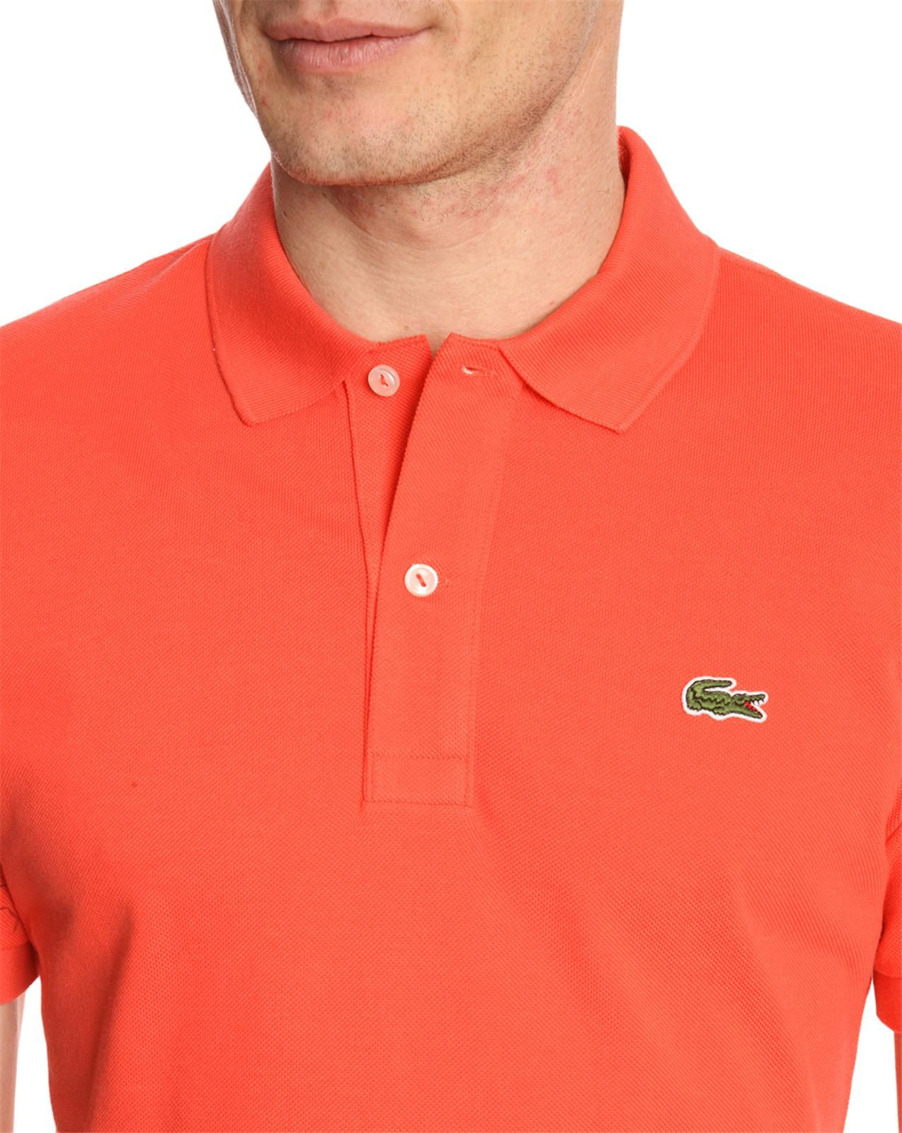Lacoste slim fit shortsleeved coral polo shirt in red for for Coral shirts for guys