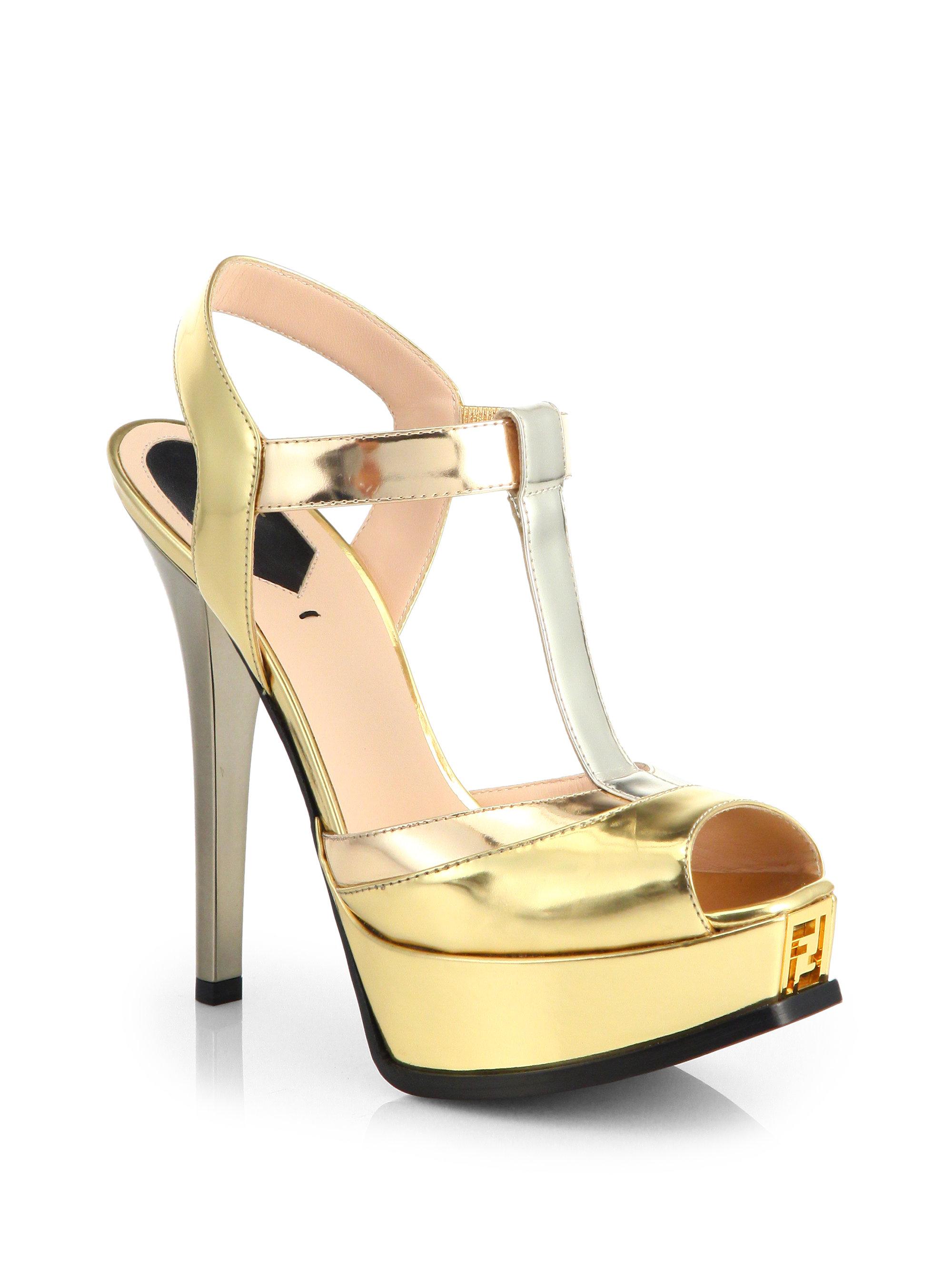 2e2085384036d4 Lyst - Fendi Sta Metallic T-strap Platform Sandals in Metallic