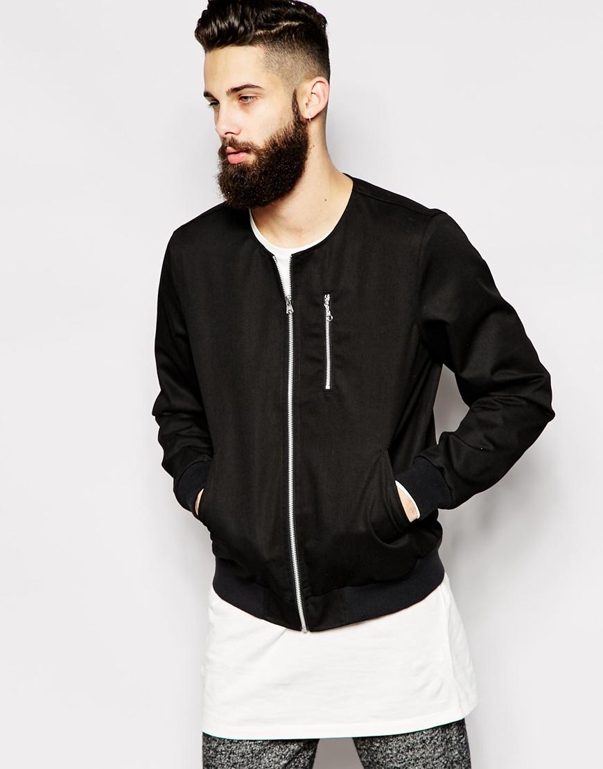 Lyst asos collarless bomber jacket in black for men for Collarless shirts for men