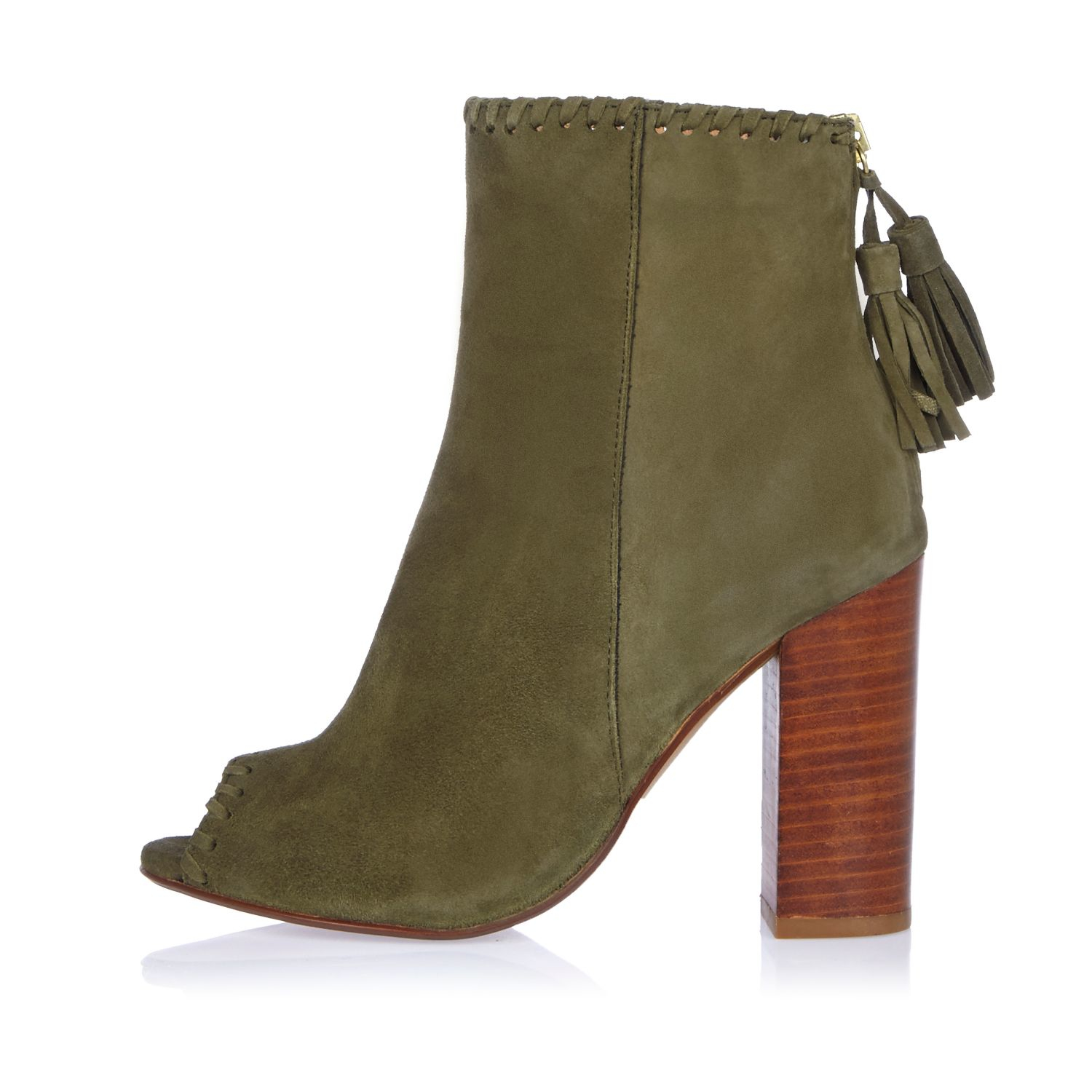 River Island Khaki Suede Peep Toe Shoe Boot In Natural Lyst