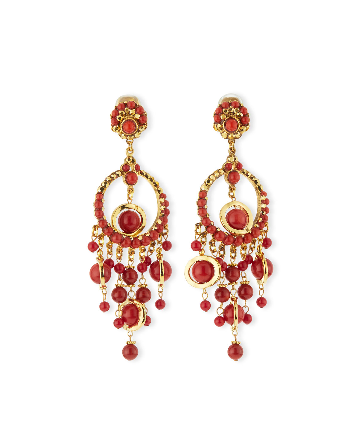 Lyst jose maria barrera 24k plated chandelier clip earrings w gallery aloadofball Images