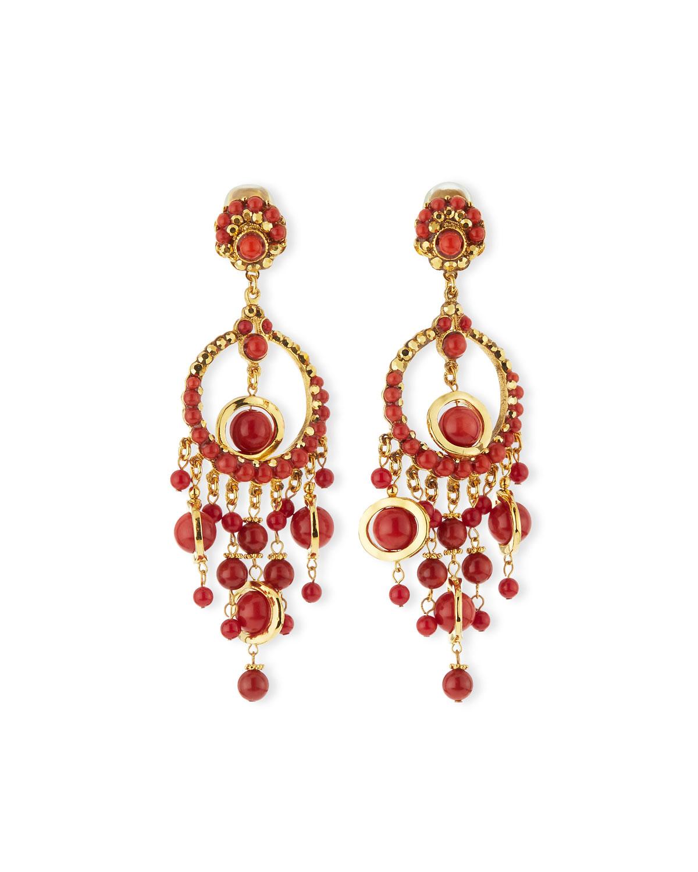 Lyst jose maria barrera 24k plated chandelier clip earrings w gallery aloadofball Gallery