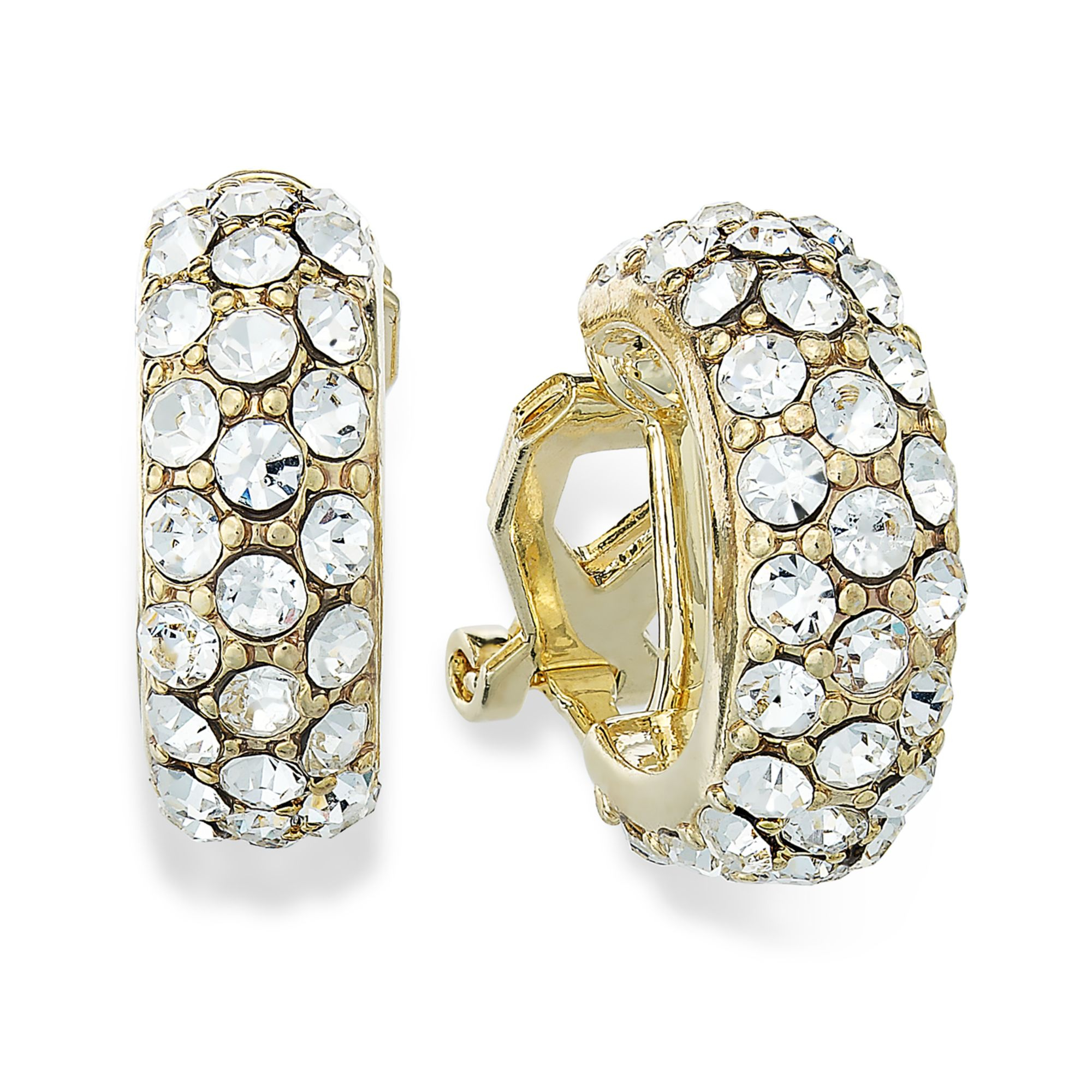 ralph clip on earrings by ralph 14k gold plated pave small 8192