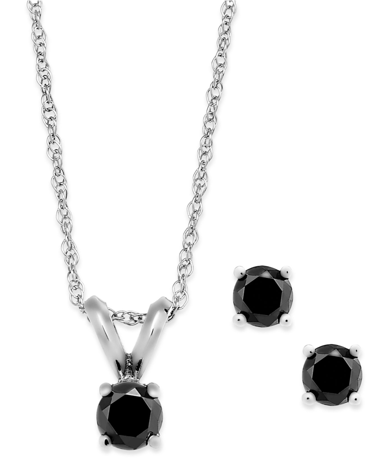 macy 39 s black diamond jewelry set in 10k white gold 1 4 ct