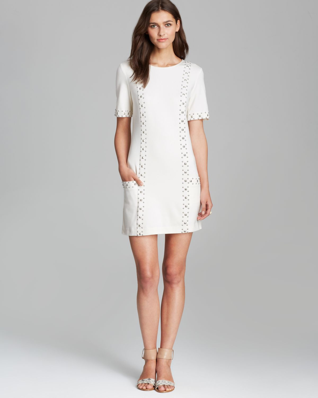 Trina turk dress naomi ponte stud in white lyst for Dress shirt studs uk