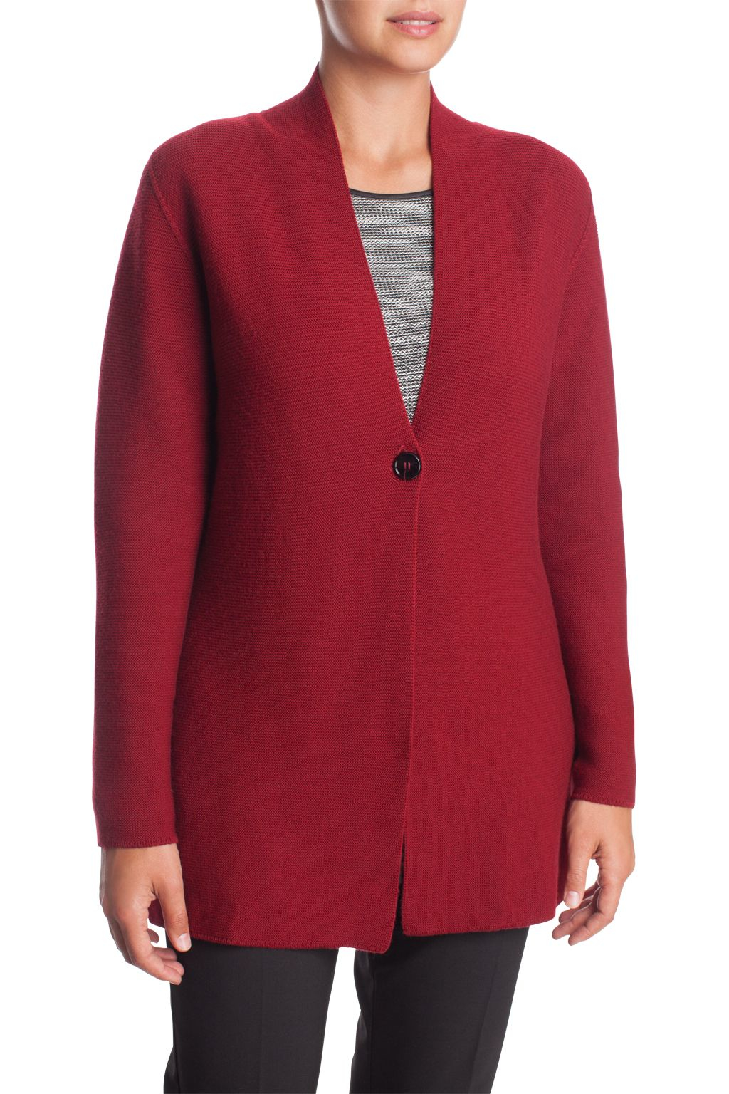 Elena miro Long Cardigan 100% Wool in Red | Lyst