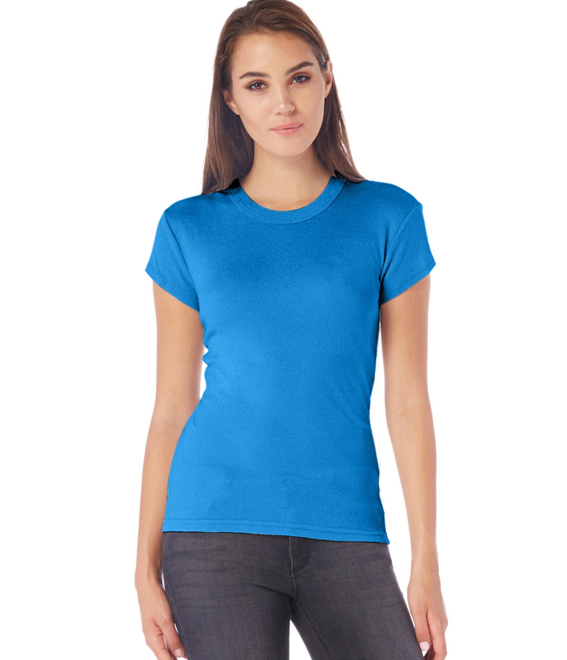 Michael stars shine capsleeve crew neck tee in blue cove for Michael stars tee shirts