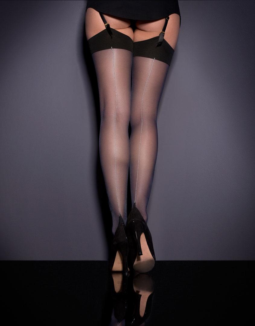 Agent Provocateur Seam Amp Heel Stockings Midnight Black
