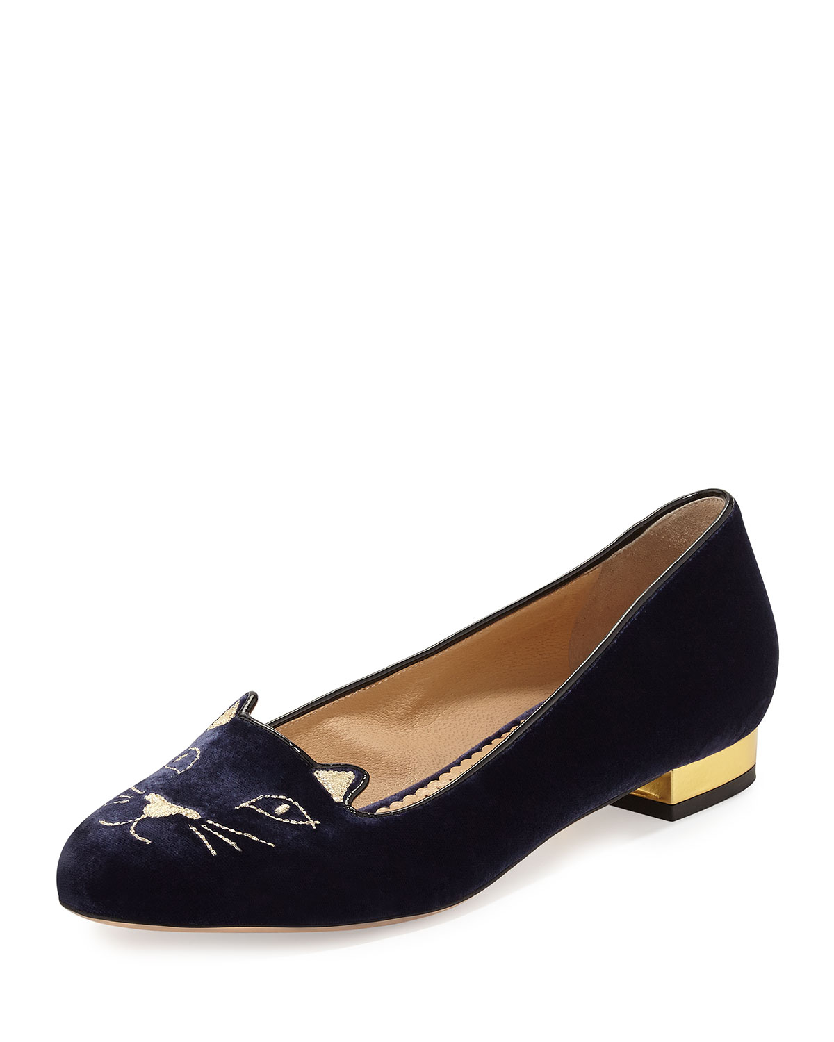 Charlotte Olympia Kitty Velvet Cat Embroidered Flat In