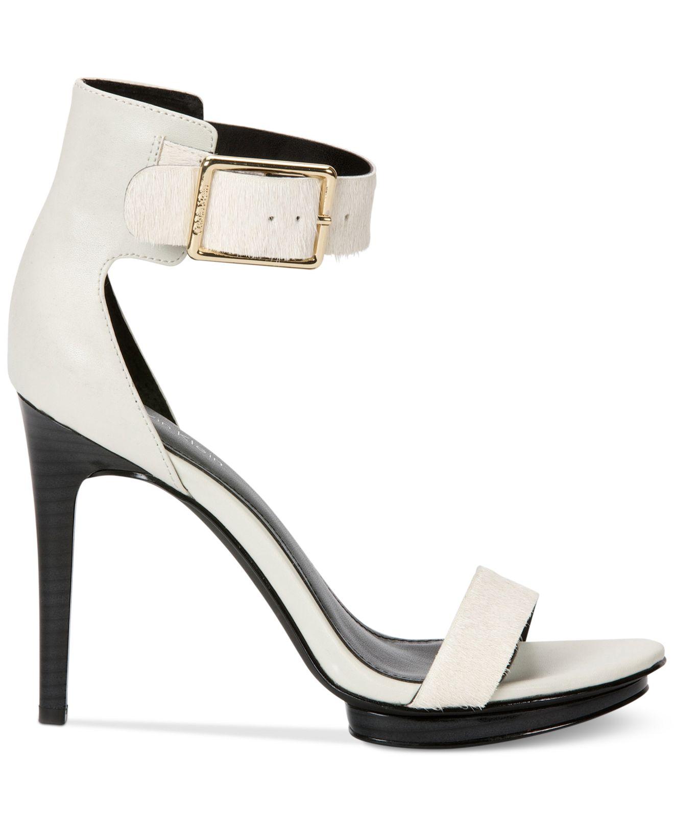57ffffe29d18 Lyst - Calvin Klein Women S Vivian High Heel Sandals in White