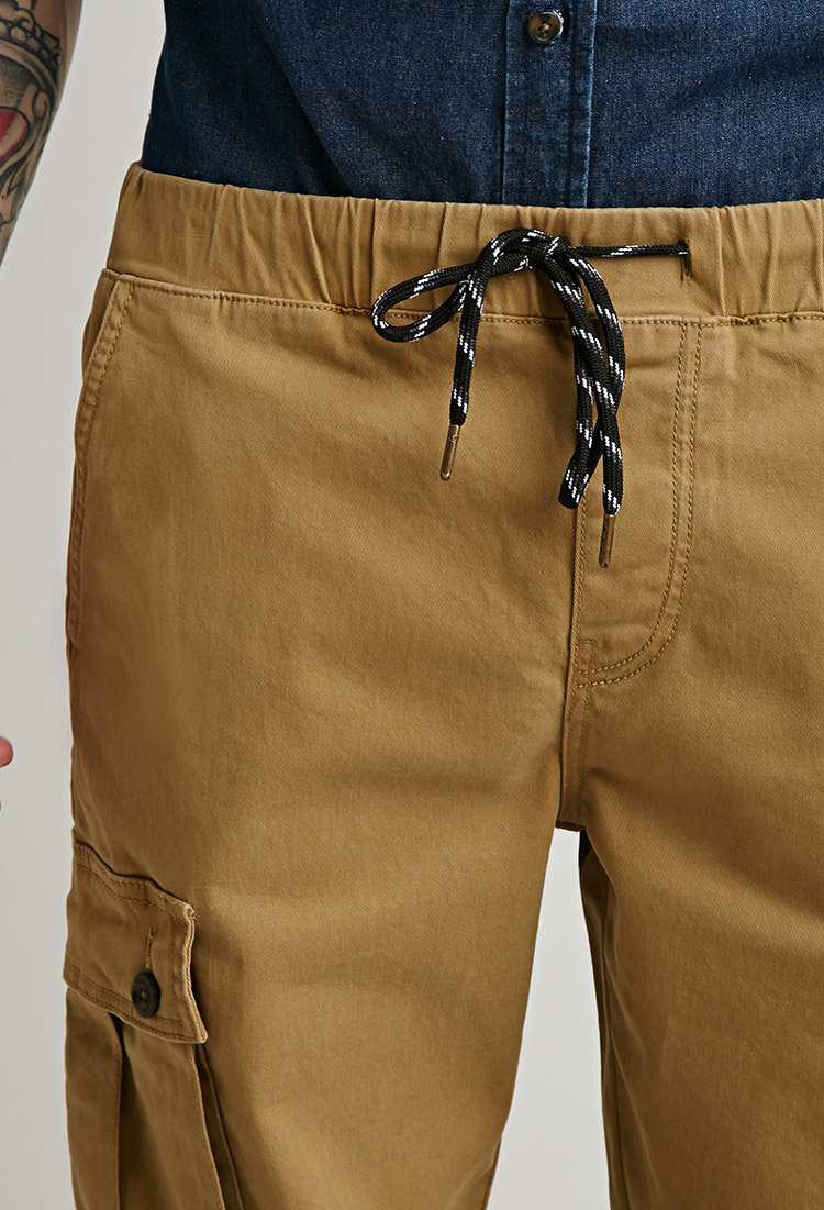 Forever 21 Twill Drawstring Cargo Pants in Natural for Men   Lyst