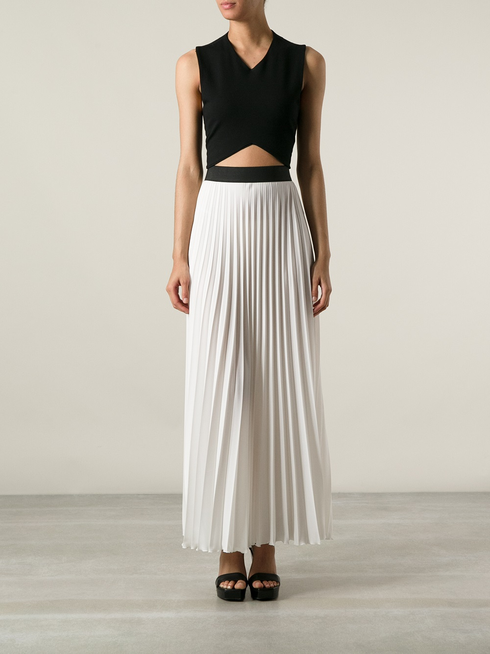P.a.r.o.s.h. Long Pleated Skirt in White | Lyst