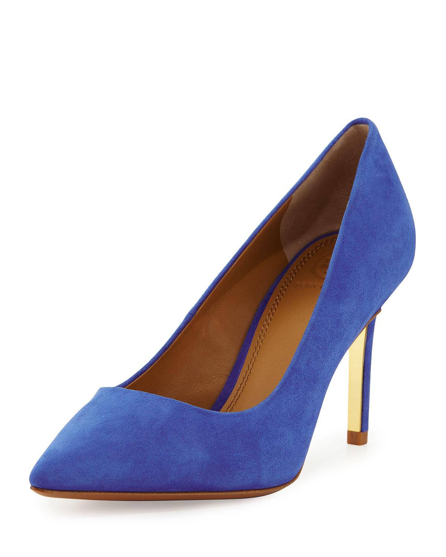 97cf40185fd Lyst - Tory Burch Elana Suede Pumps in Blue