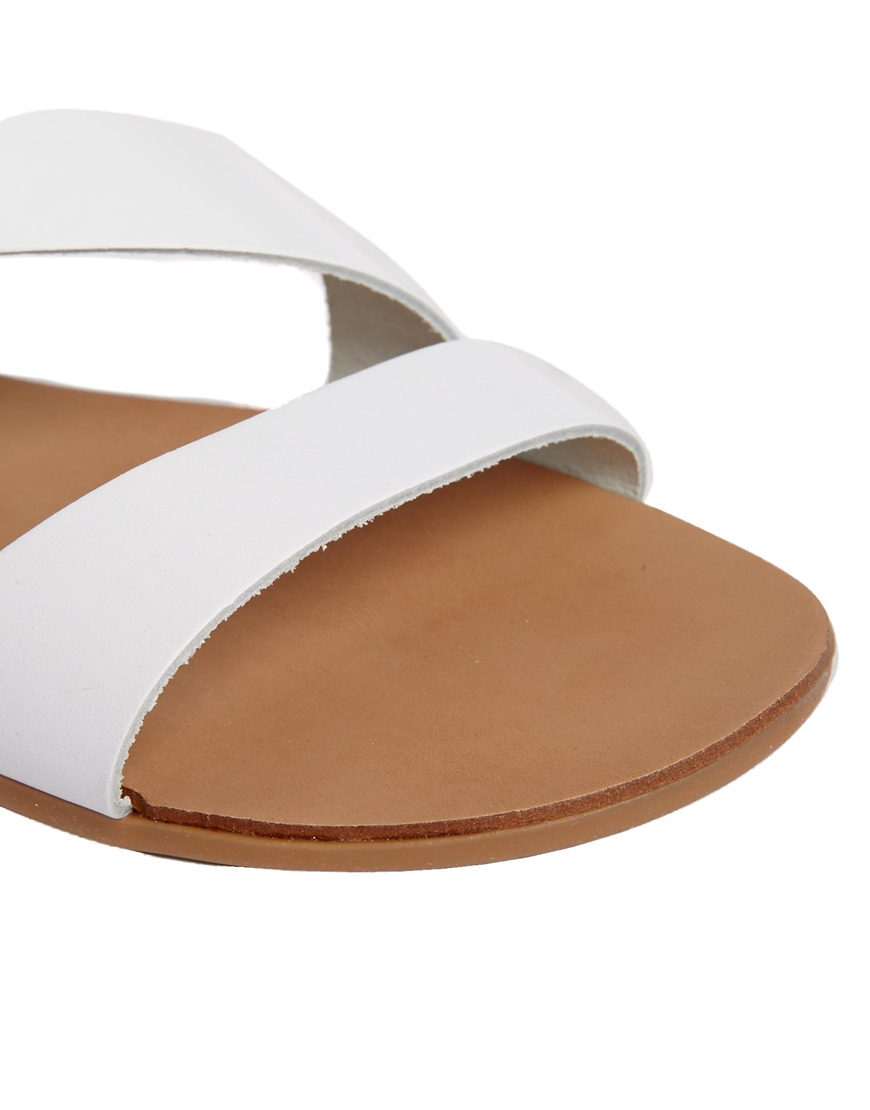 Lyst - ALDO White Leather Asymmetric Flat Sandals in White