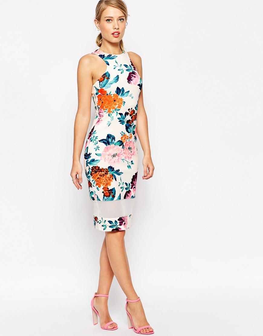 Asos Mesh Panel Cutaway Neck Floral Bodycon Midi Dress | Lyst