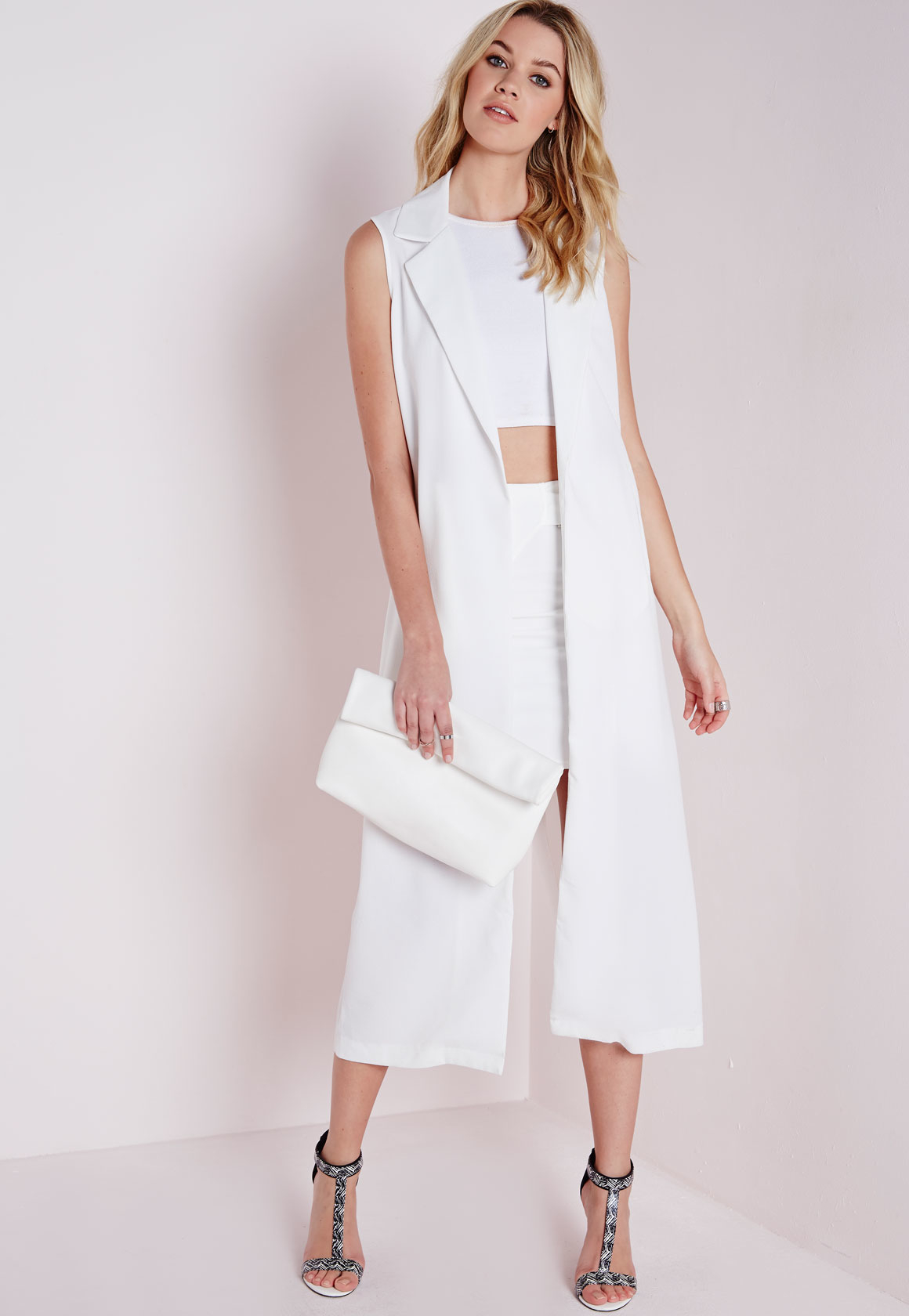 Lyst Missguided Sleeveless Maxi Duster Coat White In White