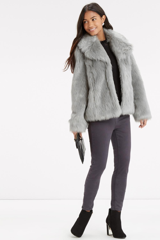 Oasis Grey Faux Fur Jacket In Gray Lyst