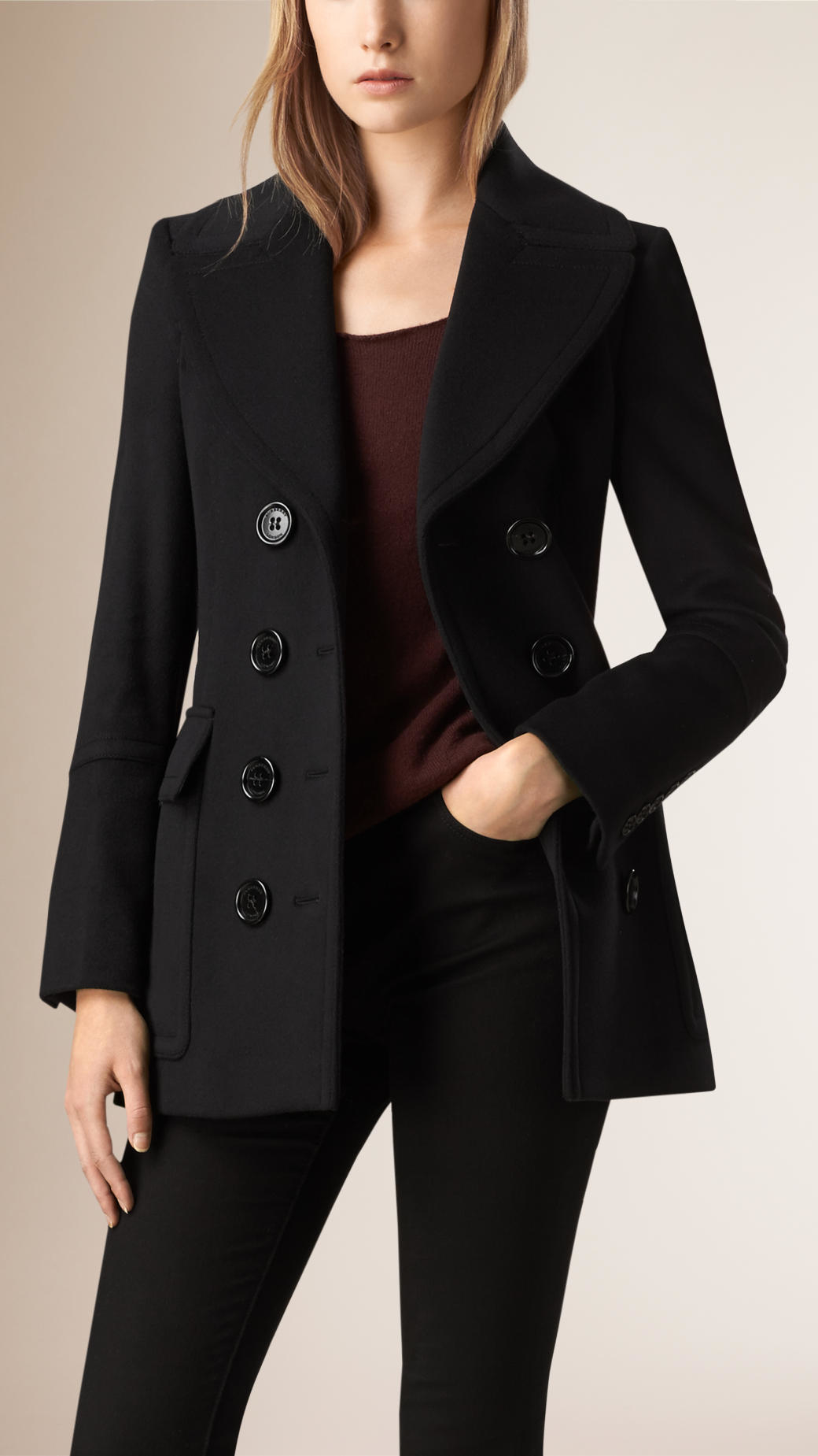 Burberry Wool Cashmere Pea Coat in Black | Lyst