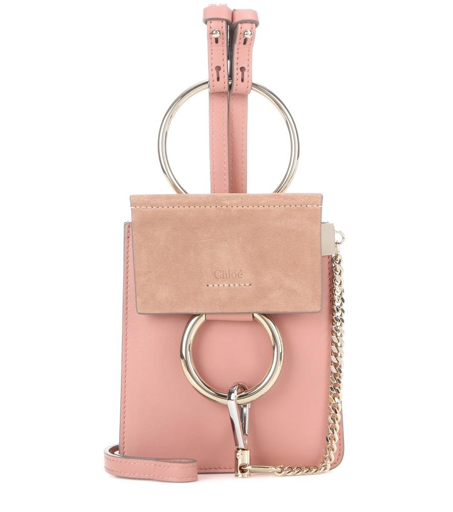 lyst chlo faye mini bracelet leather and suede bag in pink. Black Bedroom Furniture Sets. Home Design Ideas