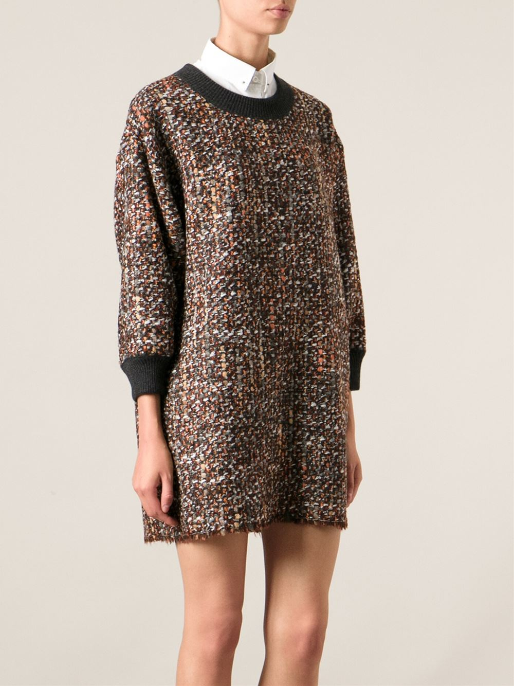 Lyst Dolce Amp Gabbana Boucle Knit Shift Dress In Brown