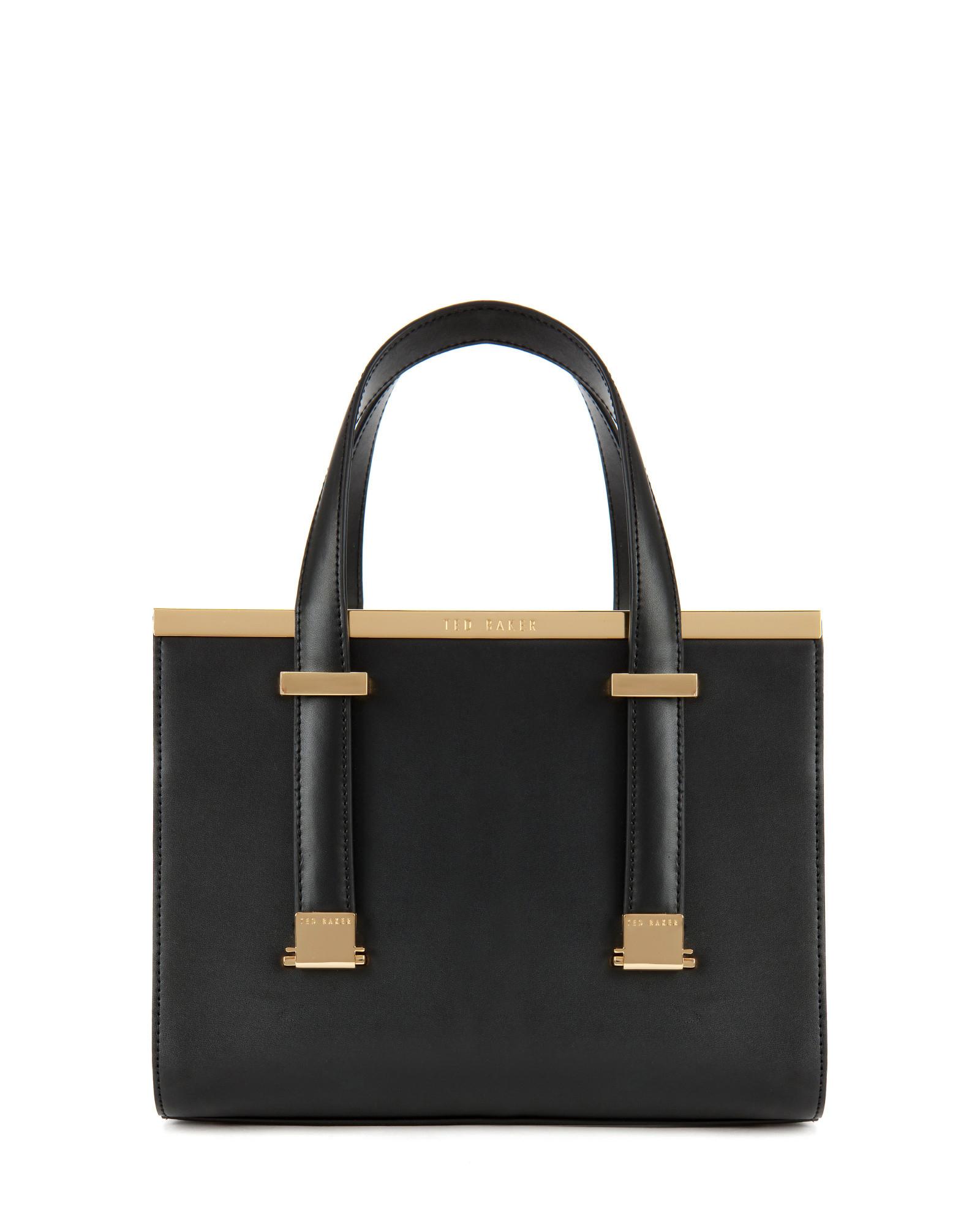 34dd94cc099cdb Lyst - Ted Baker Leather Metal Bar Tote Bag in Black