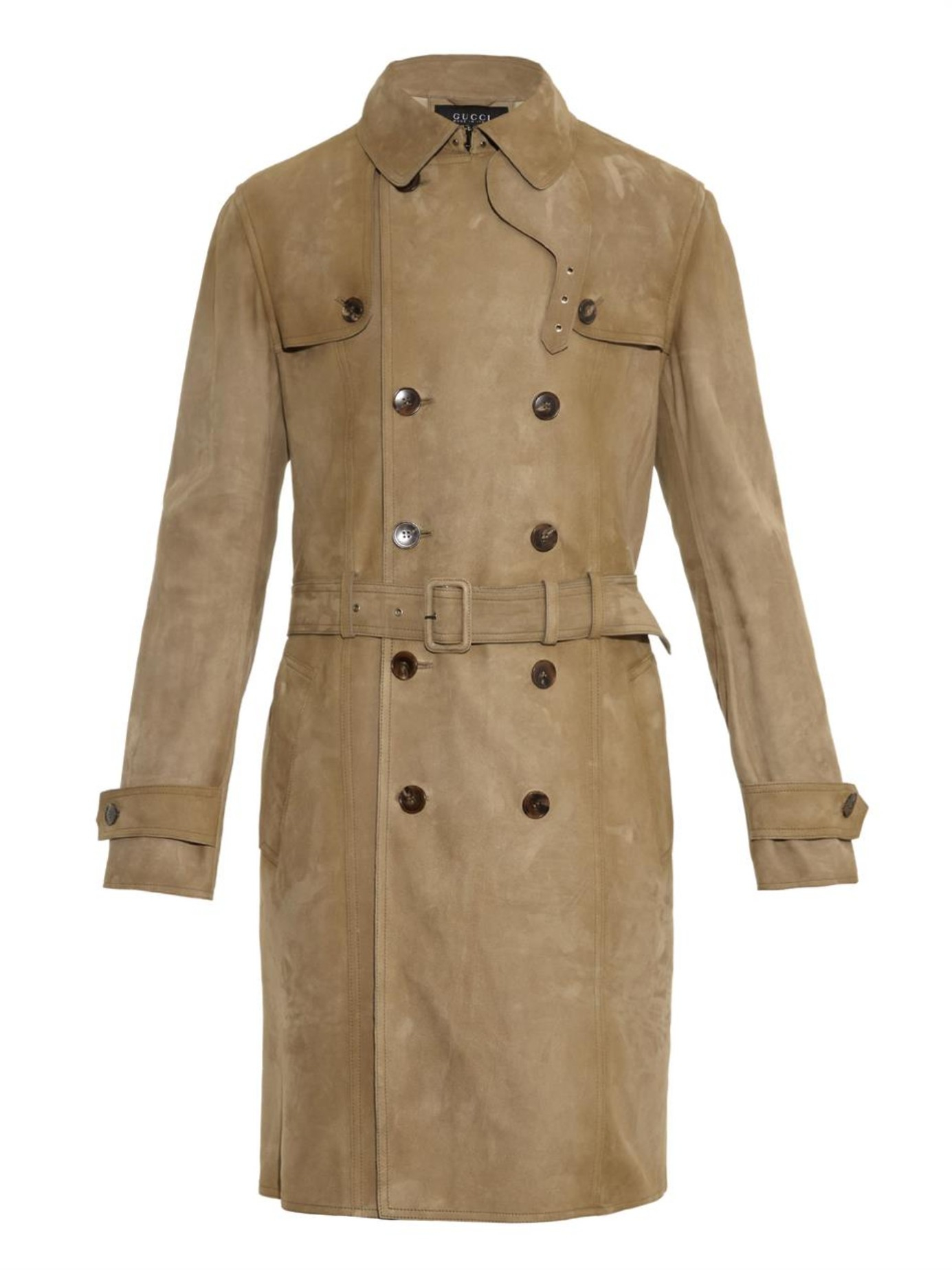 Lyst Gucci Suede Trench Coat In Green For Men