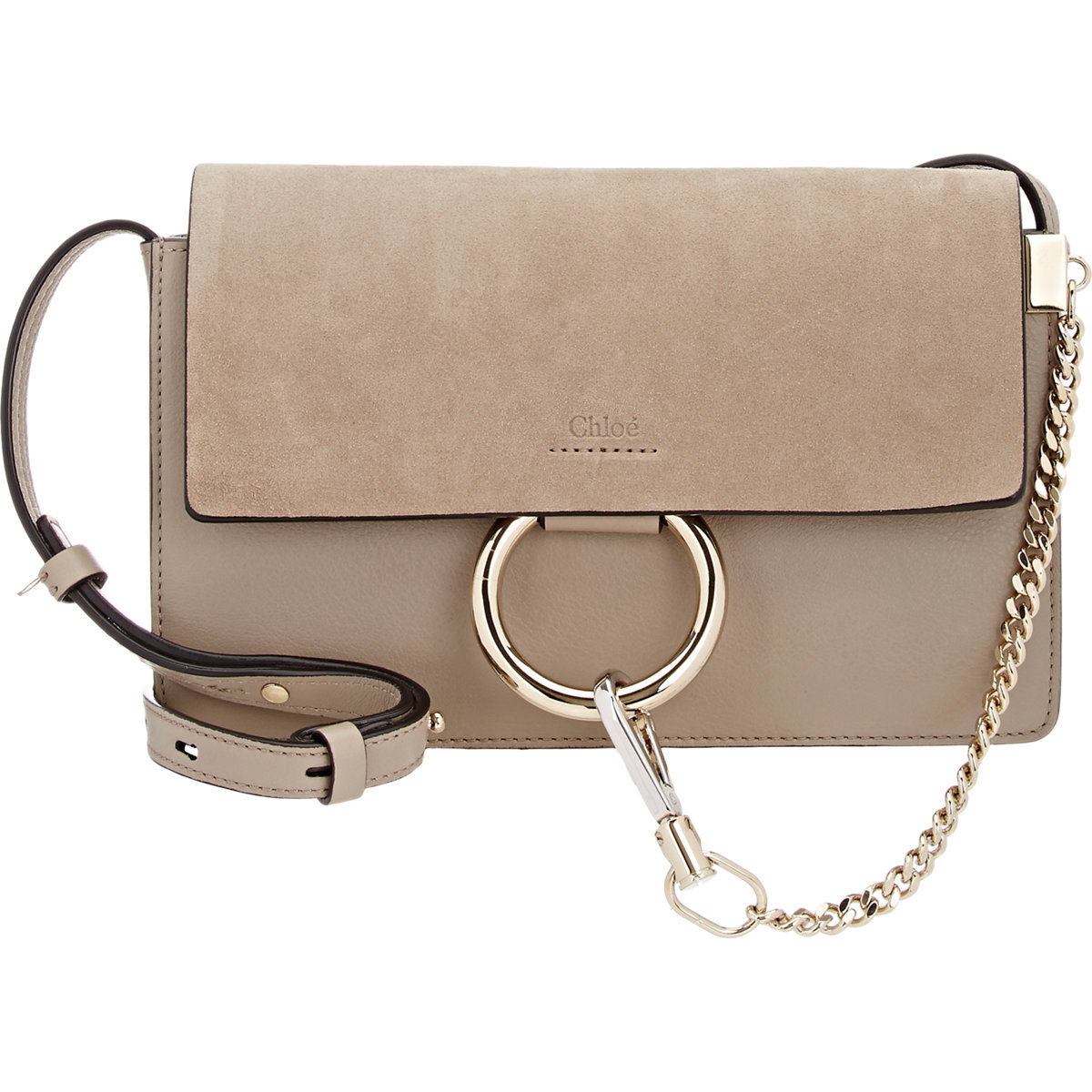 Chlo 233 Faye Small Leather Shoulder Bag In Gray Lyst